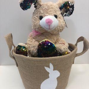 Burlap Easter Basket with Animated Bunny - NWOT